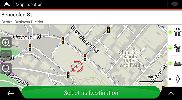 igo maps select as destination